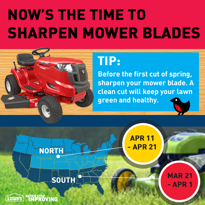 Tip: Before the first cut of spring, sharpen your mower blade. A clean cut will keep your lawn green and healthy. #TimeToSpring
