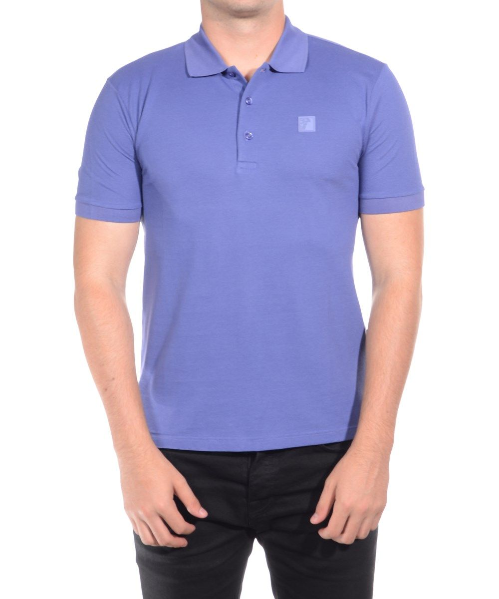 Versace Collection Men's Cotton Medusa Logo Polo Shirt Purple: Sleek,  stylish Versace Collection polo shirt for any occasion.