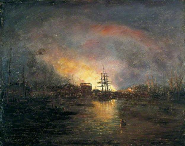Ipswich Docks with Distant Conflagration by John Moore of Ipswich   Colchester and Ipswich Museums Service Date painted: 1879