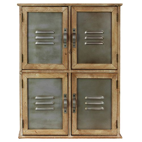 "Urban Trends Wood Cabinet with 4 Metal Doors with Vents and Handles Natural Wood Finish  Overall: 20.1"" H x 15.25"" W x 6.3"" D $54.99"