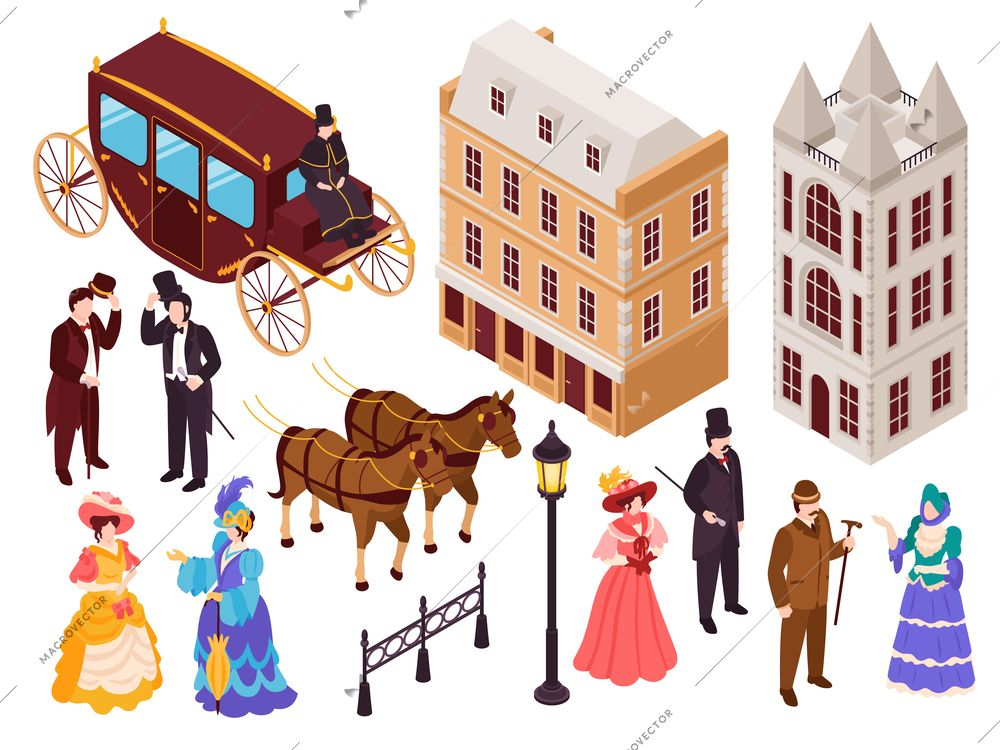 Victorian era english fashion architecture elements isometric set with town city houses lanterns carriage citizens vector illustration