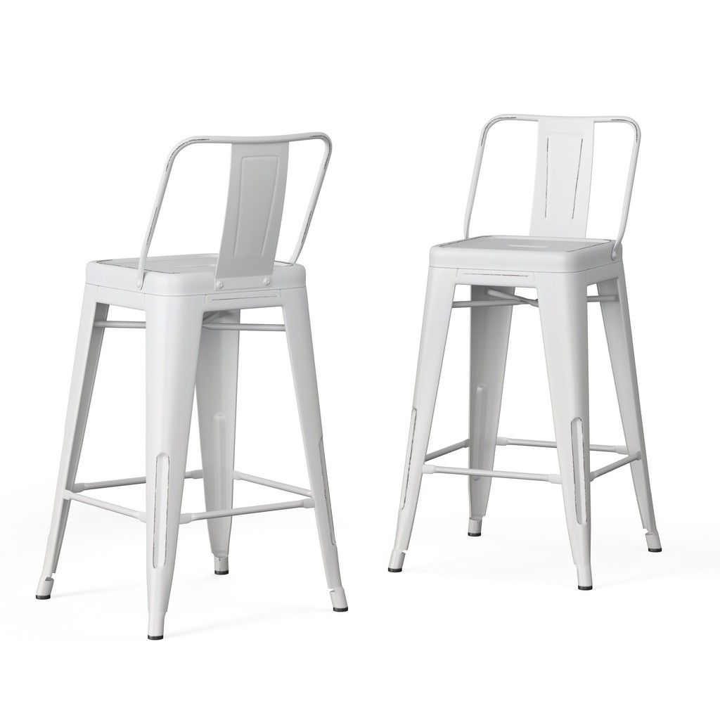 The Graph Bar Stool With Cushion Is A Modern Counter Height Stool With An Architectural Inspired Stainless St White Bar Stools Bar Stools White Counter Stools