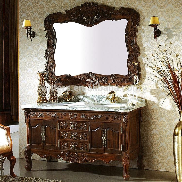 Luxury Free Standing French Baroque Style Brown Bathroom Vanity