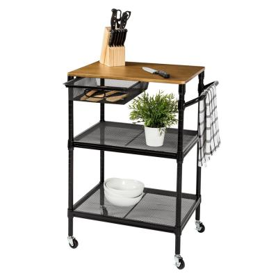 Honey Can Do Black Kitchen Cart With Natural Wood Top Crt 08456