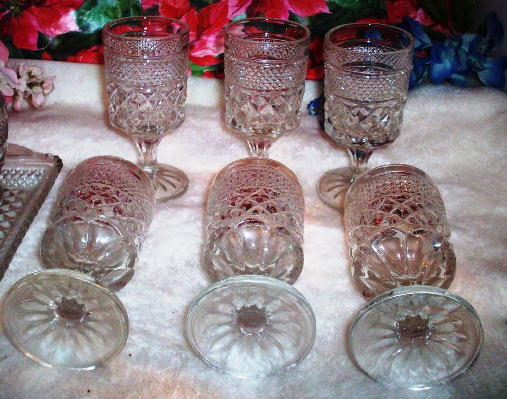 Set Two  glasses Crystal Clear Glass Wexford  by Anchor Hocking company.