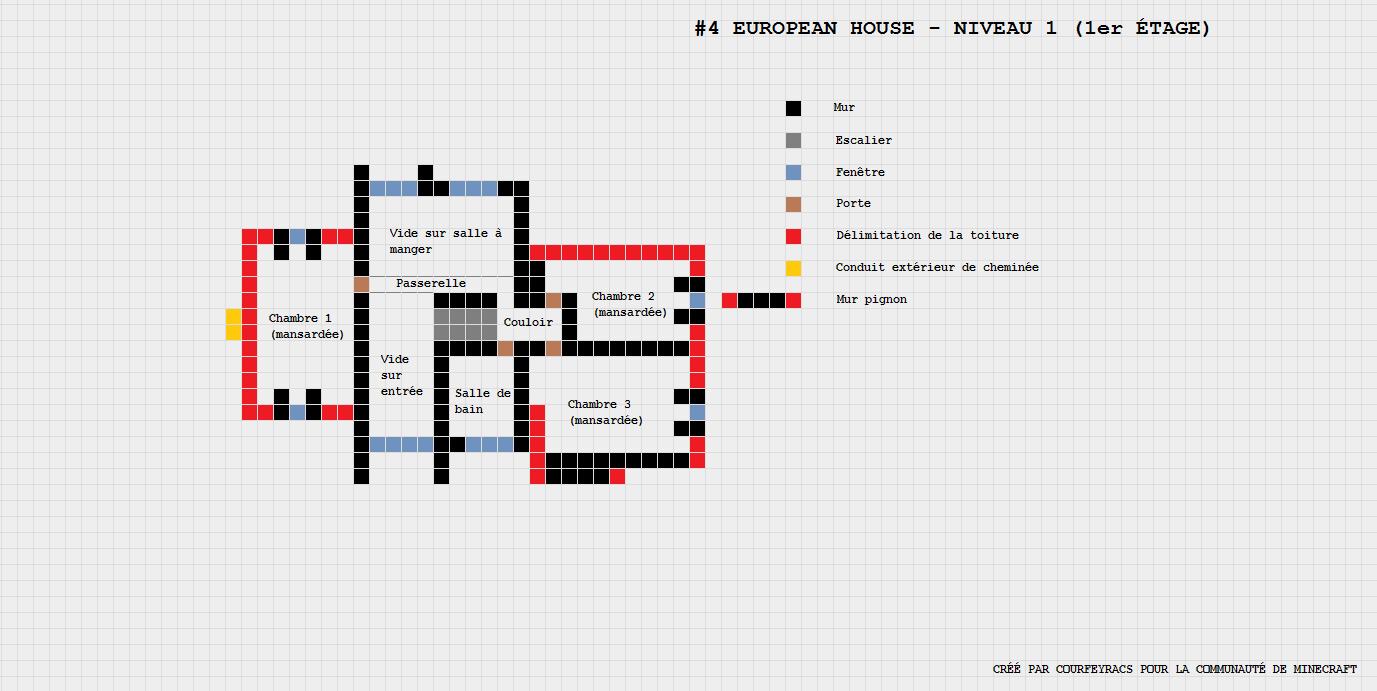 Plan dune maison européenne minecraft constructor