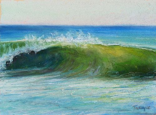 """""""Green Wave"""" 5x7"""" pastel available. info[at]takeyceart.com for purchase inquiries."""