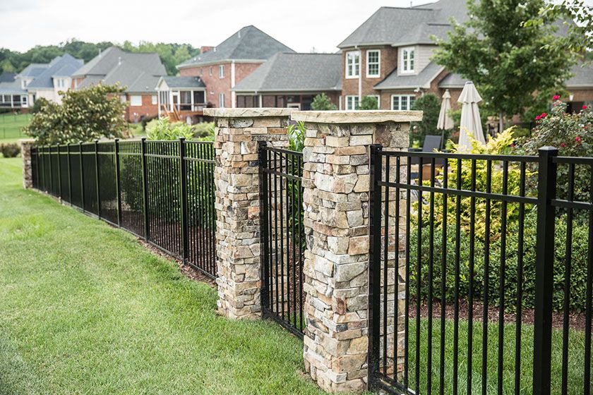 Custom Aluminum Fencing With Custom Built Stone Columns