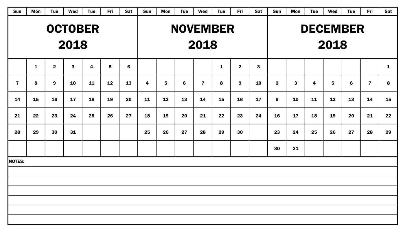 October November December 2018 Calendar Template | October