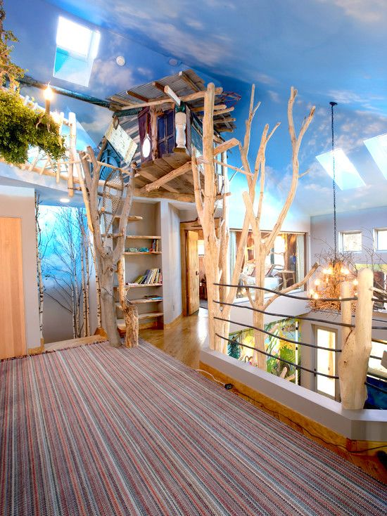 Indoor tree indoor trees treehouse kids and treehouse for Inside treehouse ideas