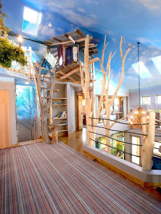 Inside Treehouse Kids Room Ideas Indoor Tree Nature Inspired Interior Design