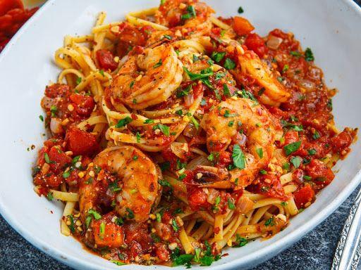 Spicy garlic shrimp pasta #garlicshrimprecipes