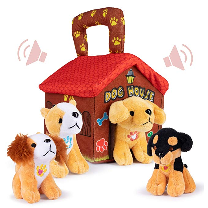 Plush Creations Plush Dog House Carrier with 4
