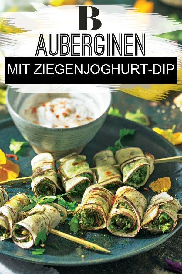 Auberginen-Spieße mit Ziegenjoghurt-Dip