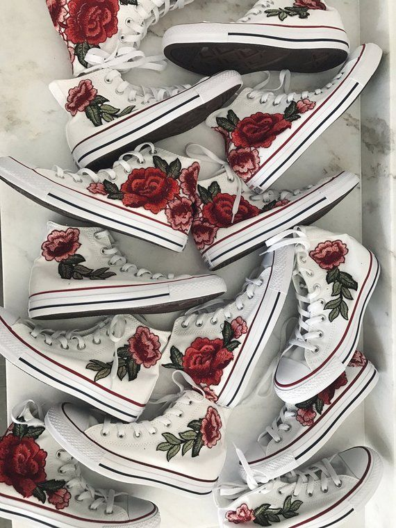 1a2444ed345a Rose embroidered hi top converse-shoes included in price in 2019 ...
