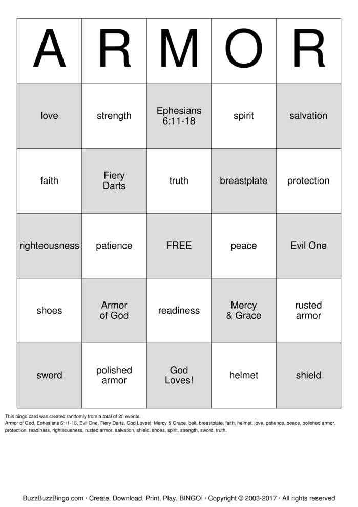 Armour of God Bingo Card | lesson ideas | Pinterest