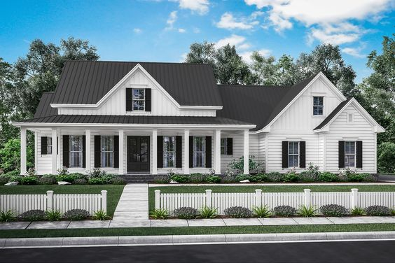 Manor Farm House Plan   Open living area, House plans design and Porch
