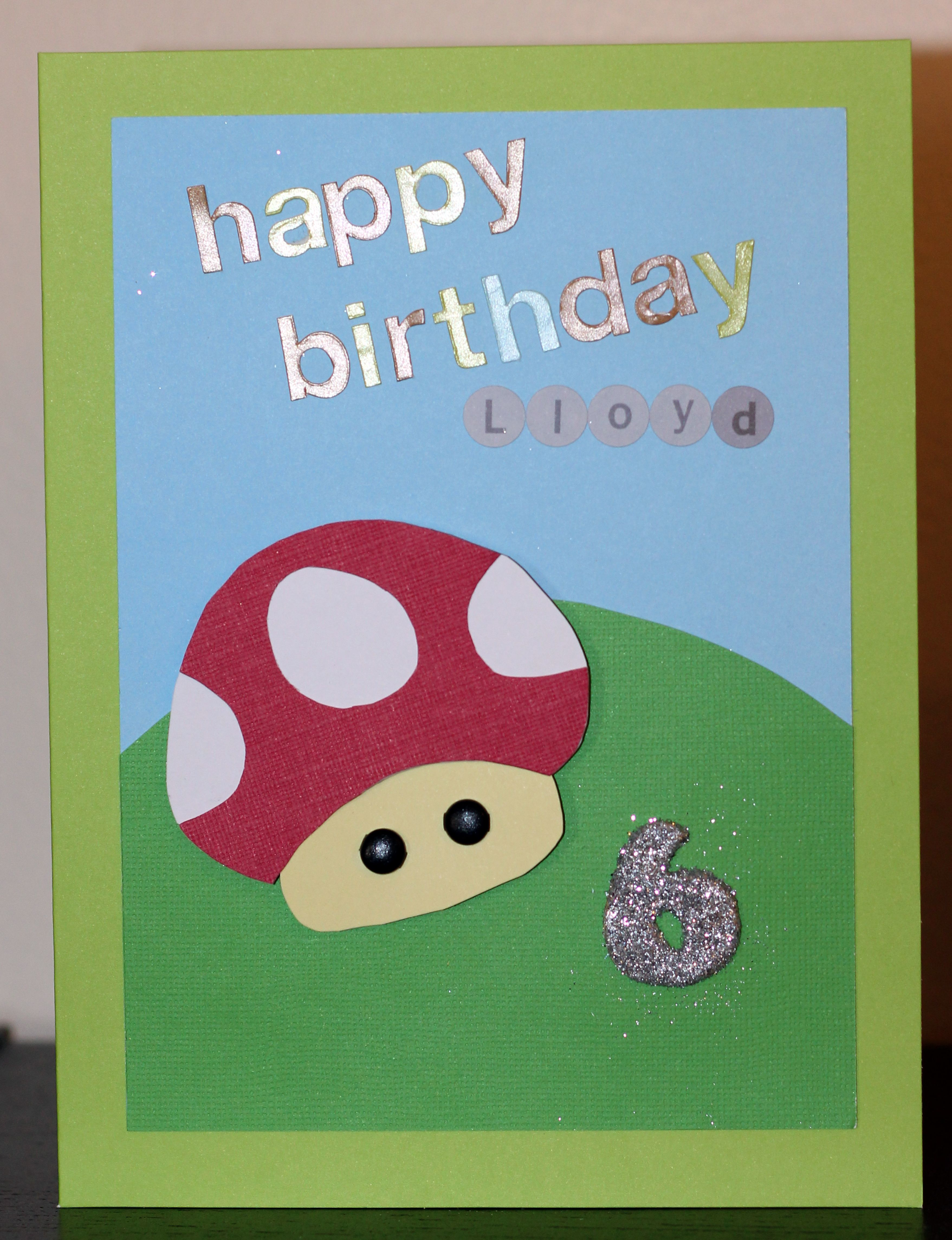 Mario Birthday card for 6 year old boy Handmade – 6 Year Old Birthday Card