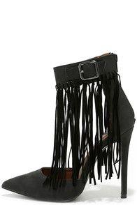 7c8dc6ece61b ... lace-up design. Fringe by Fringe Black Pointed Heels at Lulus.com!