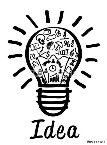 New Idea Concept Drawing Of A Bulb And Business Icons Inside It