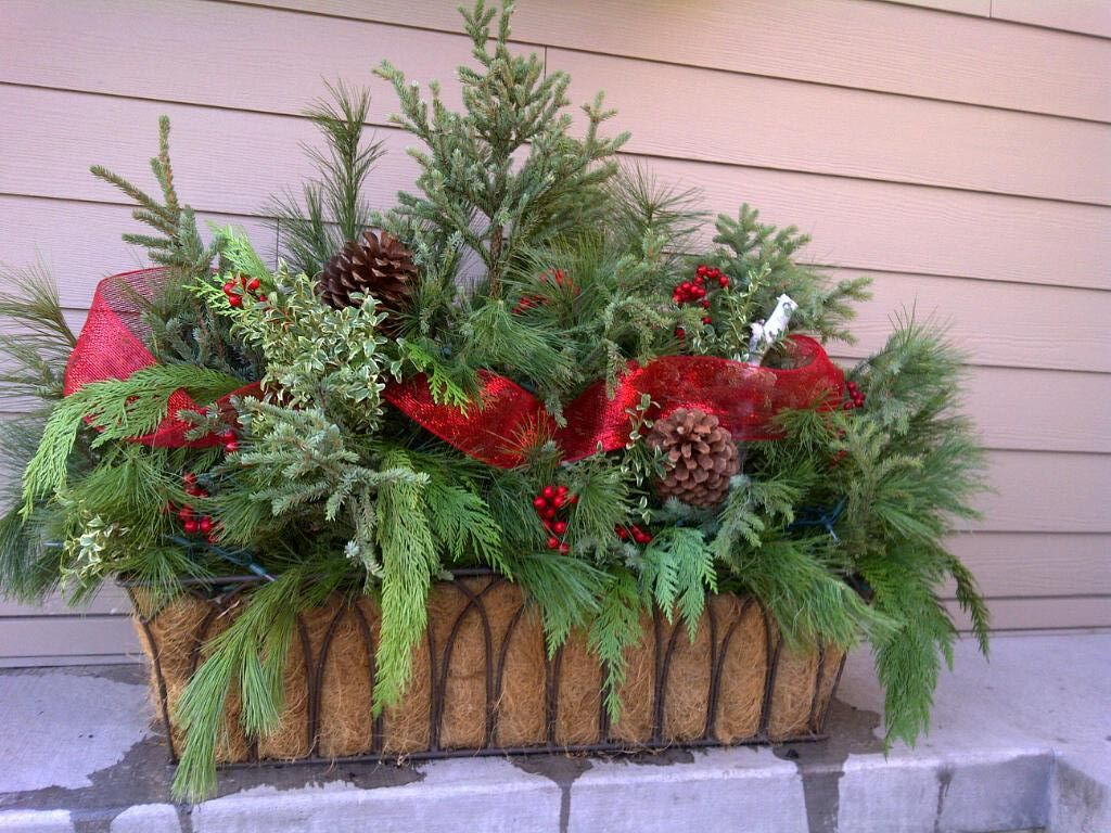 Christmas planter 2011 christmas decor pinterest for Decoration de fenetre exterieur