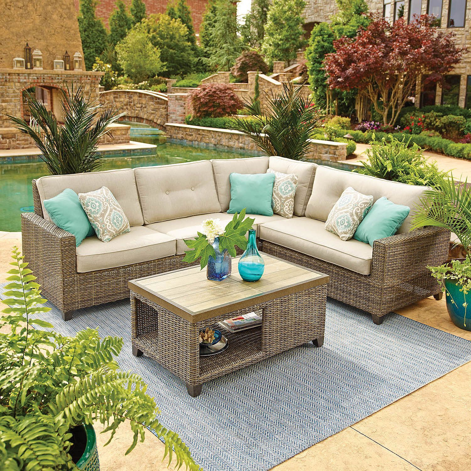 Member S Mark Agio Collection Park Place Sunbrella Seating Set Sam S Club Outdoor Furniture Cheap Patio Furniture Rustic Outdoor Spaces