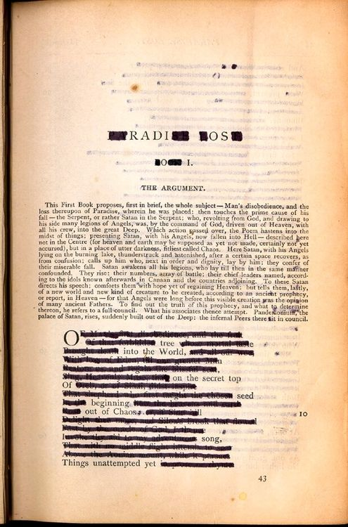 Ronald Johnson S Copy Of The Poetical Work John Milton 1892 Which He Used To Create Hi Radi O Friendship Essay Erasure Poetry On Paradise Lost