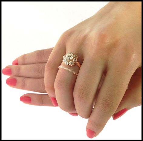 I Like This Wedding Band And Cluster Rings Combo With Gap In Middle Rather Than Stacked