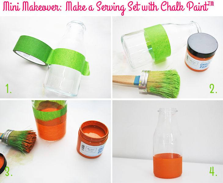 Mini Makeover: Make a Serving Set with Chalk Paint™ - Glass Bottle Vase on Style for a Happy Home // Click for DIY instructions