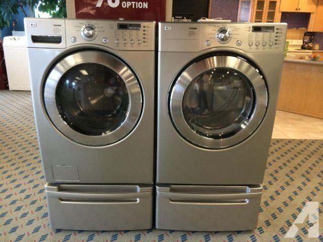 Lg Tromm Slate Front Load Washer Dryer Set On Pedestals Used