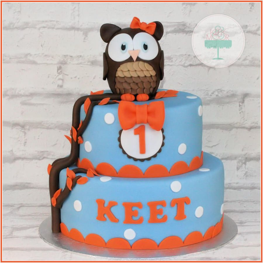 Red, Blue & White Polka Dot and Bow Tie Owl Cake (Keet)