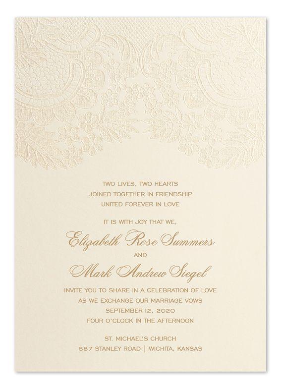 Subtle Lace Ecru Wedding Invitation With Embossed Fl