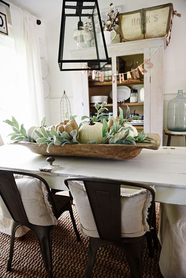 Simple Dough Bowl Fall Centerpiece Metal Chairs Style