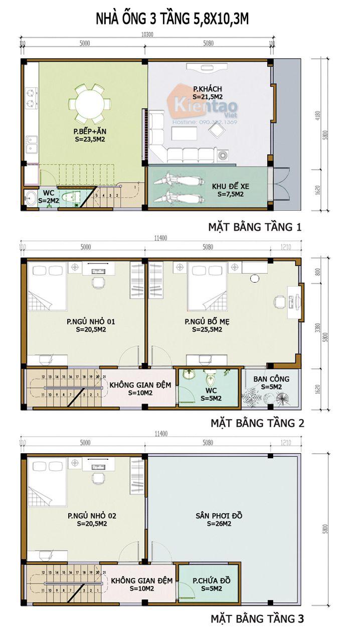 Thiết kế kiến trúc, Nhà ống 3 tầng 5,8x10,3m, Cách phân bổ công năng nhà ống 3 tầng 5,8x10,3m, nhà đẹp
