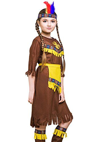 kids native american girl halloween costume indian princess dress up role play 8