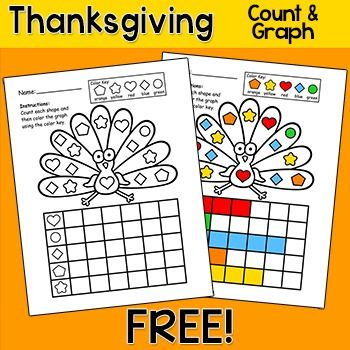 Free Downloads - Thanksgiving Math Graphing - Here's a fun Thanksgiving activity to practice counting and graphing. Students will color the shapes using the Color Key and then count the number of shapes and graph the results.You may like my other Thanksgiving Activities:Thanksgiving Math Mystery PicturesThanksgiving Interactive PowerPoint GamesThanksgiving Writing Activity - Owl ThemeThanksgiving and Fall Writing ActivityThanksgiving Math Coordinate Graphing Mystery PicturesYou may like my o...