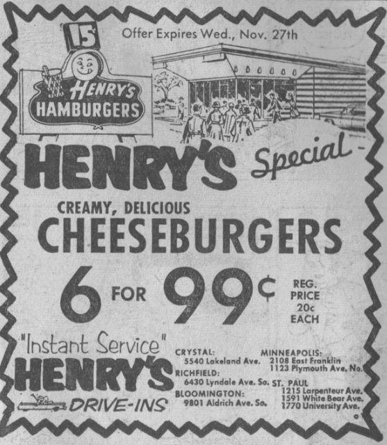 Henry S Hamburgers 1962 Minnesota Minneapolis