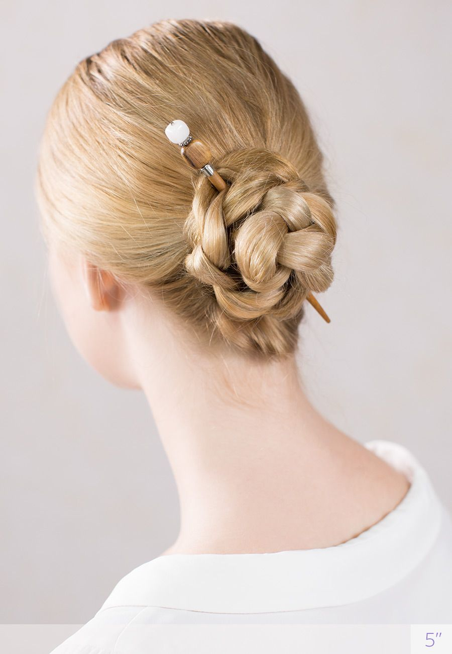 Simple Elegant Braided Bun Hairstyle Styled With Eden A Lovely Hair Stick Featuring Rectangular Wooden Bead And Natu Hair Braid Videos Hair Styles Asian Hair