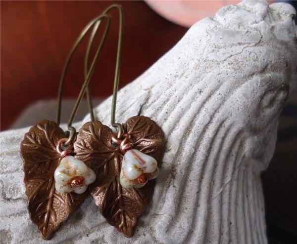 Brass Leaf Earrings by JRandNDDesigns on Etsy