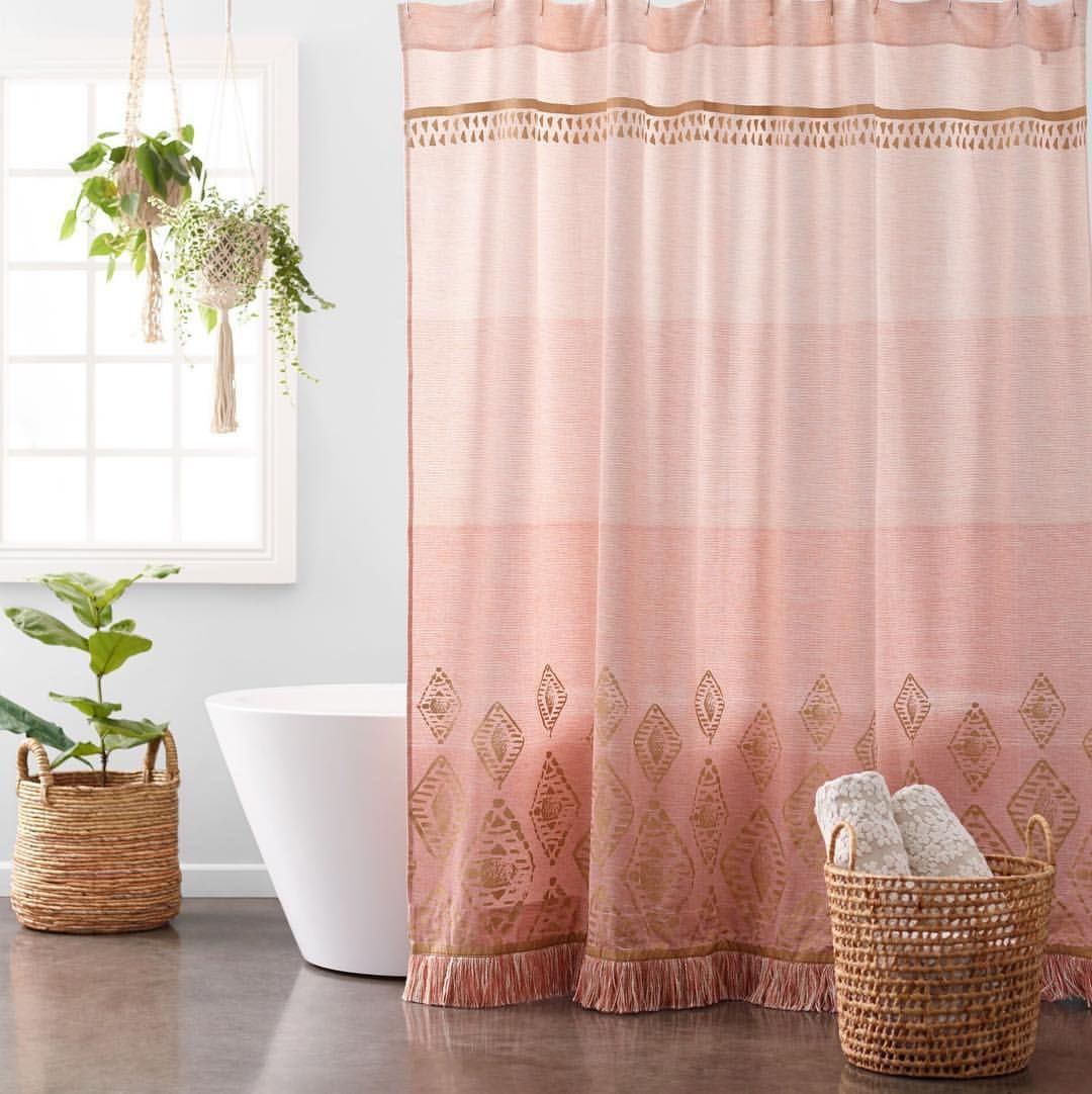 Our Unique Terracotta And Gold Ombre Shower Curtain Features Gold