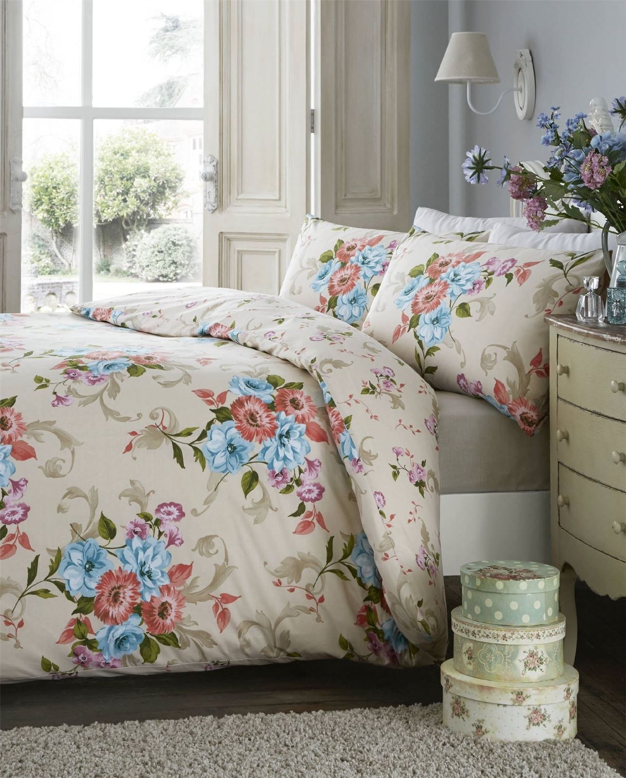 Traditional Floral Reversible Duvet Quilt Cover Bedding