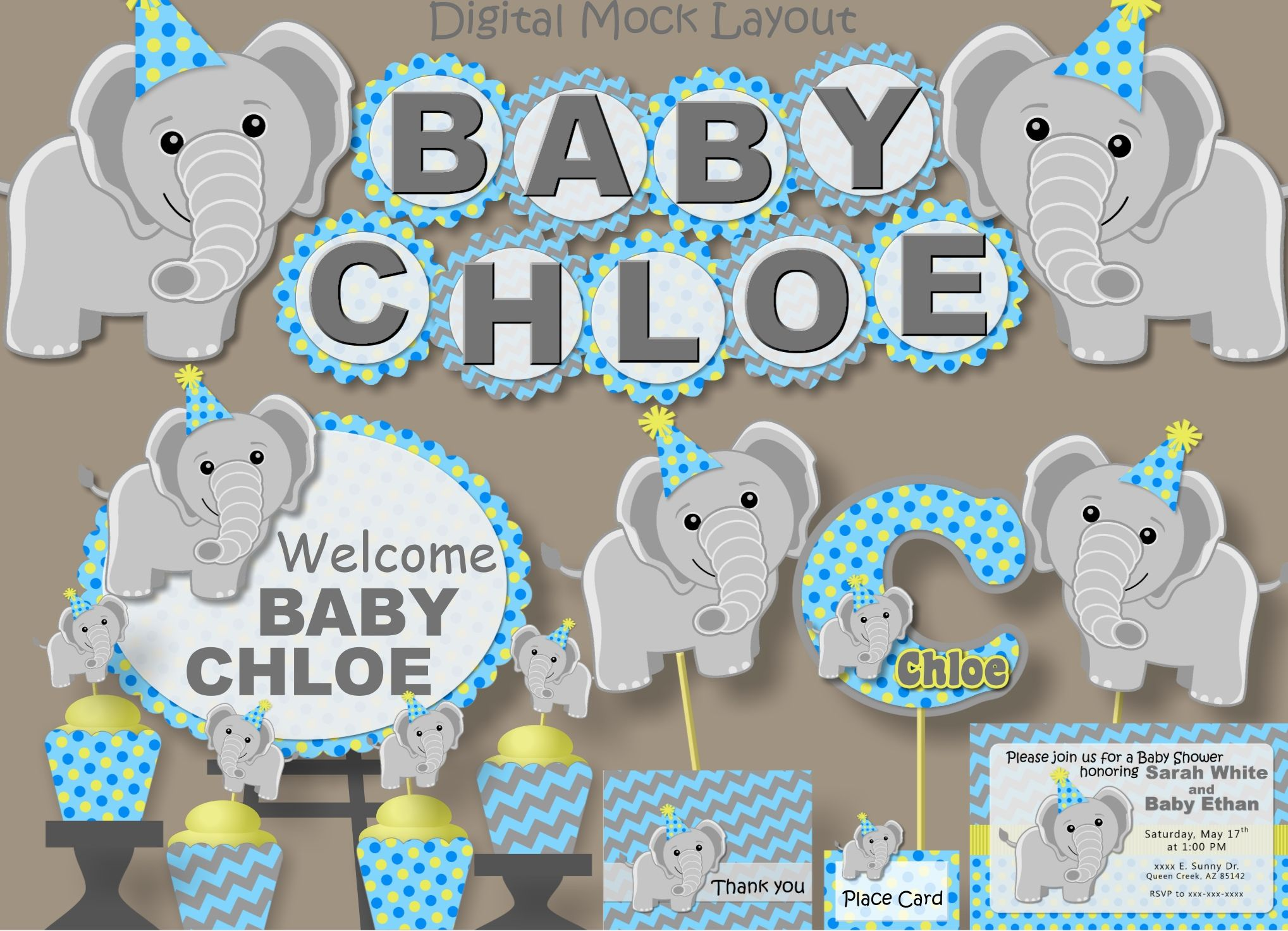Elephant Baby Shower (Blueyellow) Party Package,Birthday Invitation, Banner, Decoration, Favor,