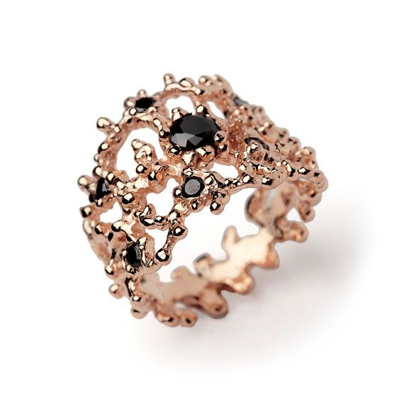CORAL Rose Gold Black Diamond Ring 14k Rose Gold with by arosha