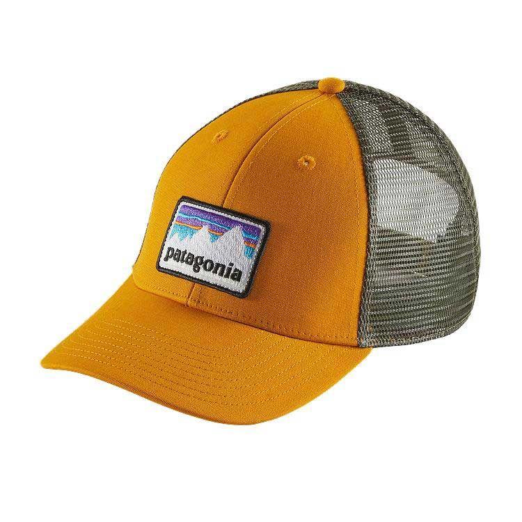 7715e24859c Patagonia Shop Sticker Patch LoPro Trucker Hat in Ysidro Yellow 38182-YSDY