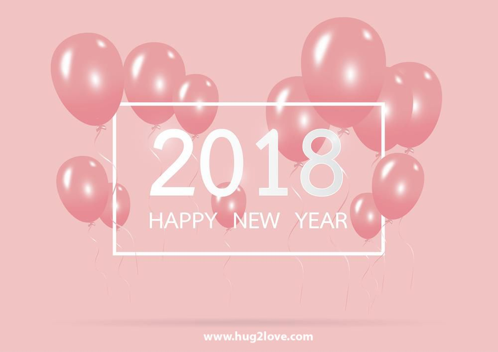 cute happy new year 2018 greeting image pink balloons