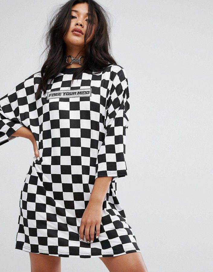 537902b4d The Ragged Priest Free Your Mind Oversized T-Shirt Dress In Checkerboard