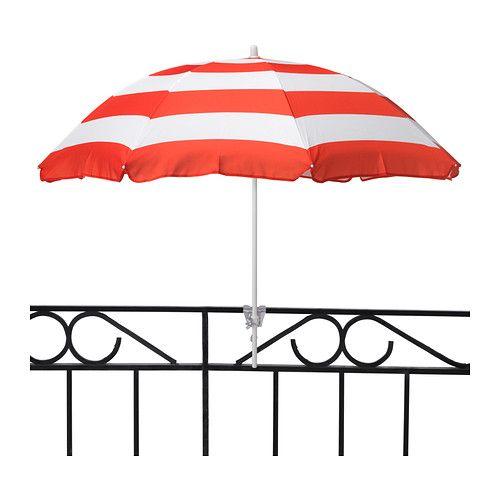 Ikea ramso umbrella in orange or aqua stripes has a for Ikea cantilever umbrella