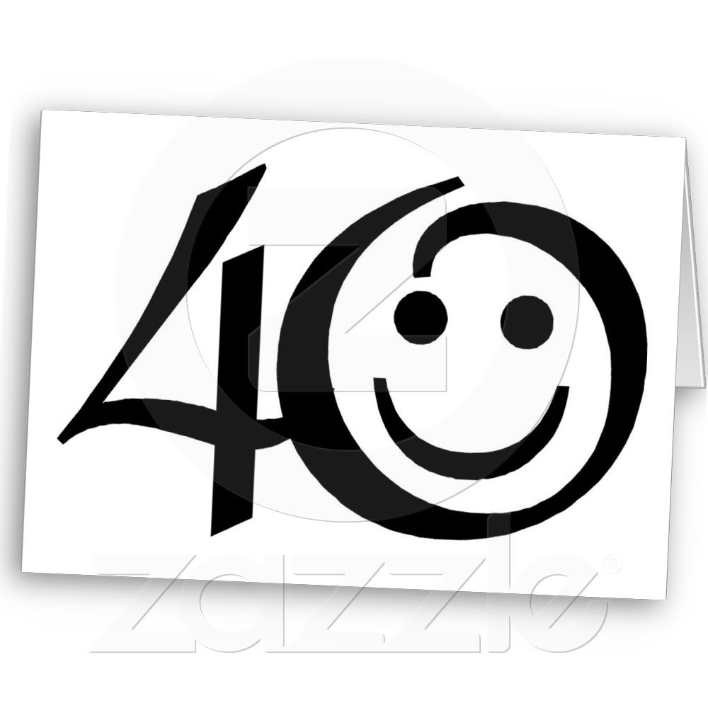 Number 40-With Happy Face Card | Zazzle.co.uk