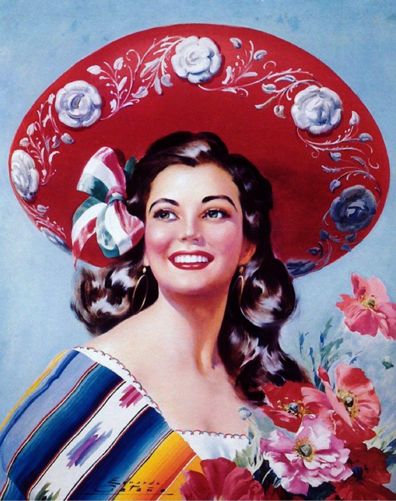 US SELLER-Jesus Helguera  senorita Mexican art poster room wall decor