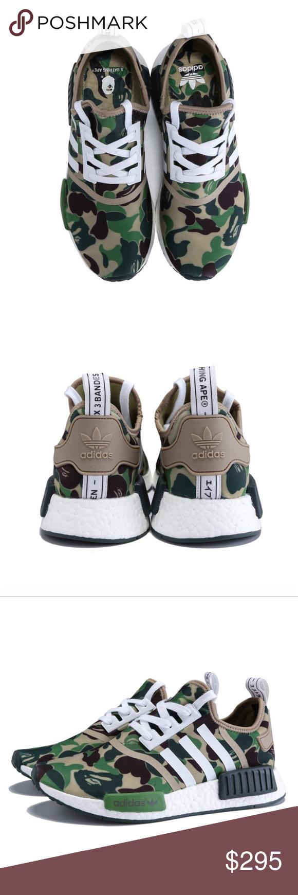 scarpe autentico bape x adidas originali nmd r1 mimetico uomini le adidas